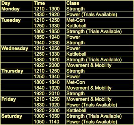 grit schedule
